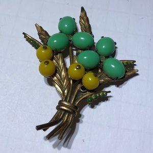 Vintage old antique flower brooch pin